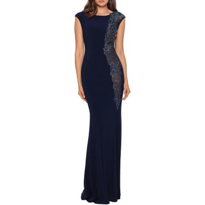 Xscape Embroidered Mermaid Gown, Blue