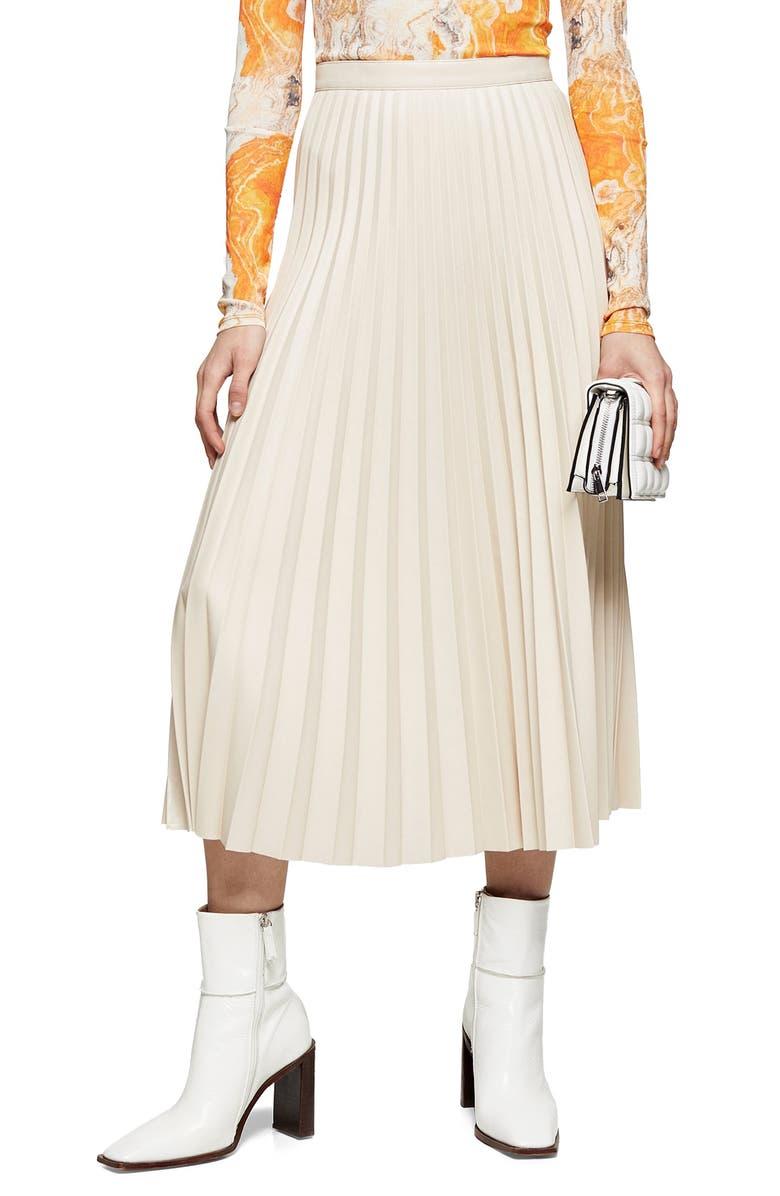 TOPSHOP Pleated Faux Leather Midi Skirt, Main, color, CREAM