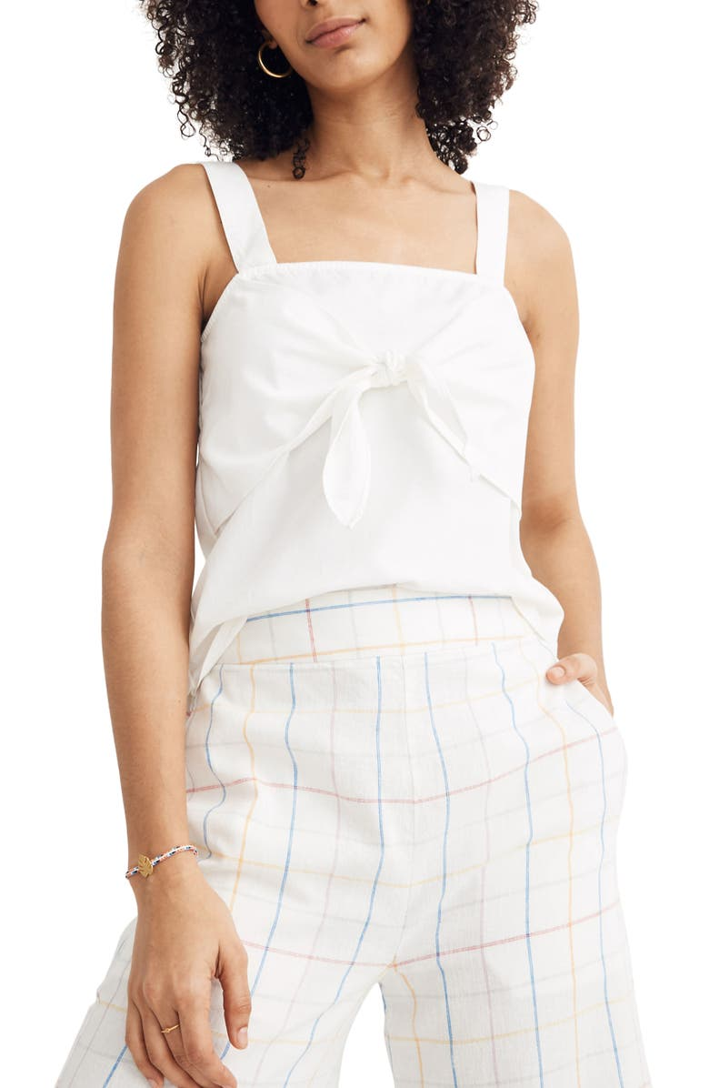 MADEWELL Tie Front Woven Camisole, Main, color, PURE WHITE