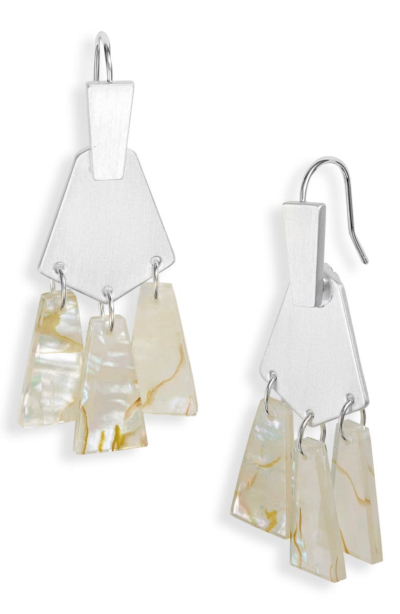 KENDRA SCOTT Rechelle Small Drop Earrings, Main, color, BRIGHT SILVER/ WHITE MIX