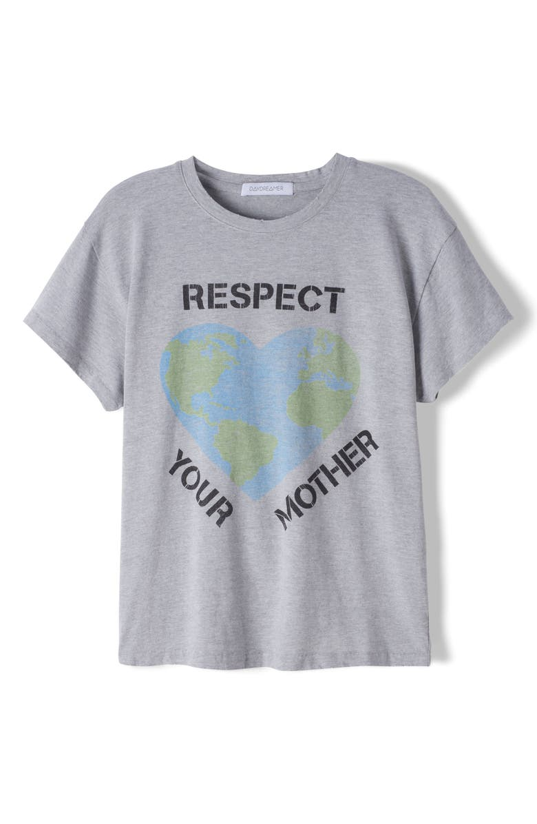 DAYDREAMER Respect Your Mother Graphic Tee, Main, color, HEATHER GREY