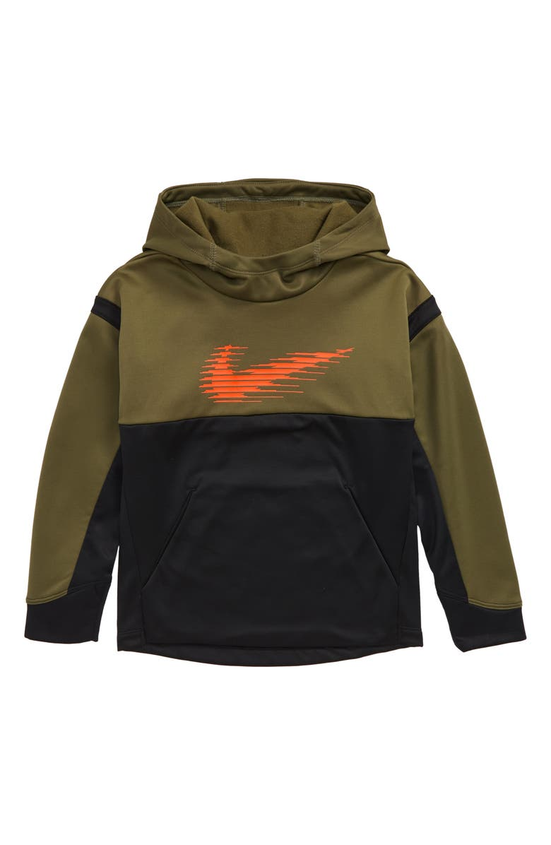 NIKE Therma Hoodie, Main, color, MEDIUM OLIVE/ BLACK