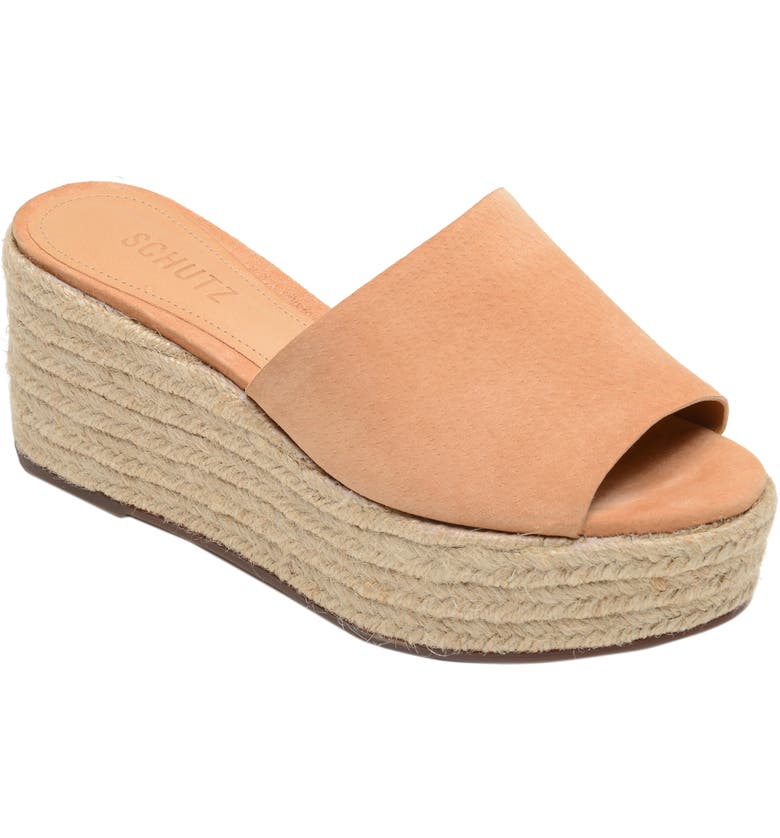 SCHUTZ Thalia Platform Wedge Slide Sandal, Main, color, HONEY BEIGE