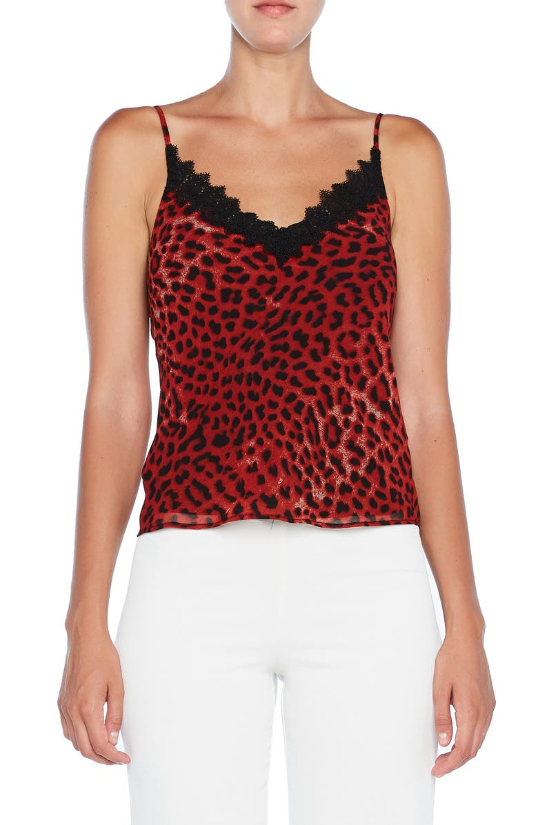 BARDOT Lace Trim Camisole, Main, color, RED LEOPARD