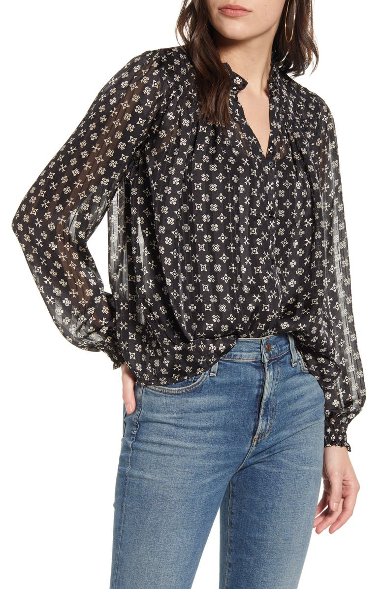 SCOTCH & SODA Printed Ruffle Chiffon Top, Main, color, COMBO X