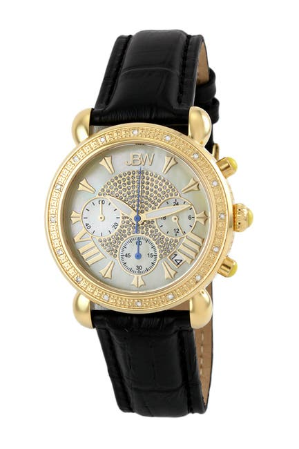 Image of JBW Women's Victory Diamond Embossed Leather Strap Watch, 37mm - 0.16 ctw