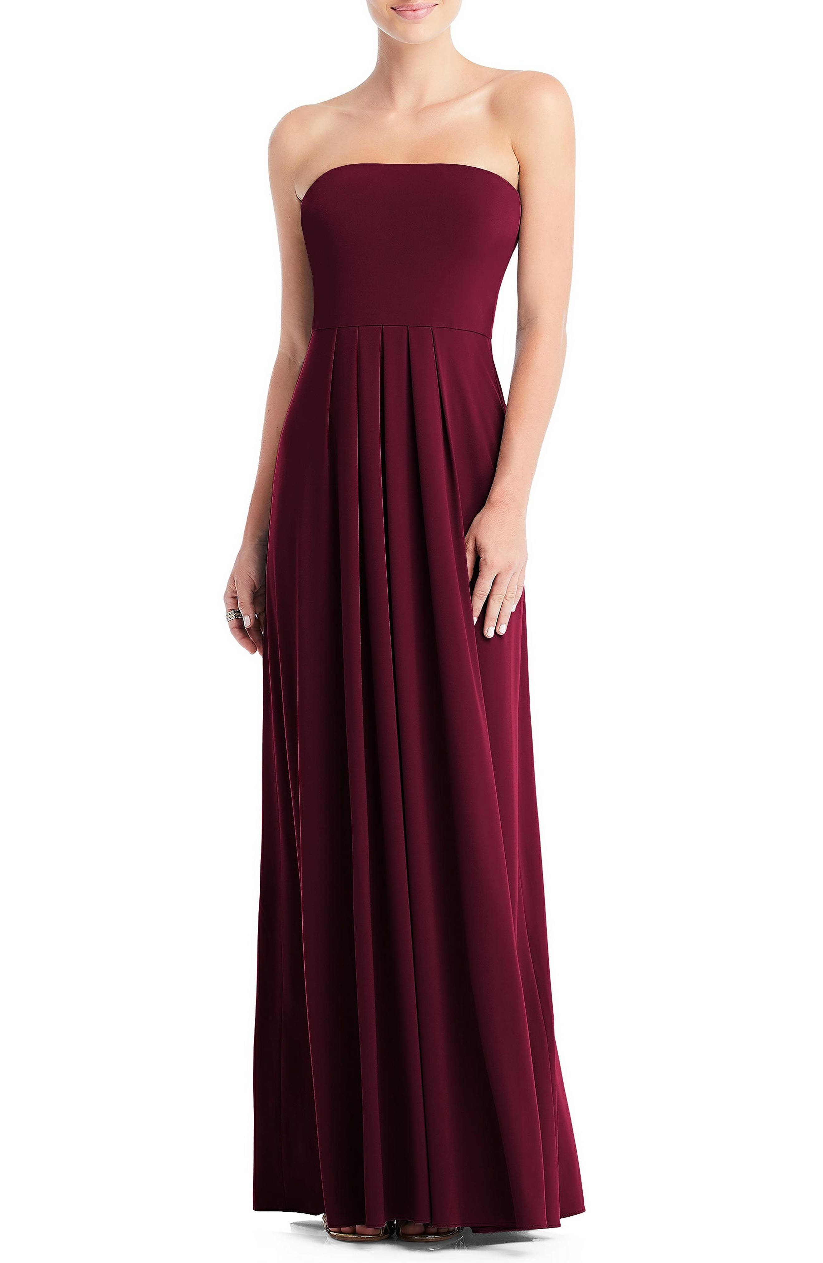 The traveler\\\'s dream dress, this bandeau-bodice gown comes with a loop that allows you to configure this style 13 different ways for two weeks of chic looks. Style Name: Dessy Collection Multi-Way Loop A-Line Gown. Style Number: 5955294 1. Available in stores.