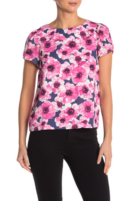 Image of J. Crew Floral Print Soft Shell Short Sleeve Top