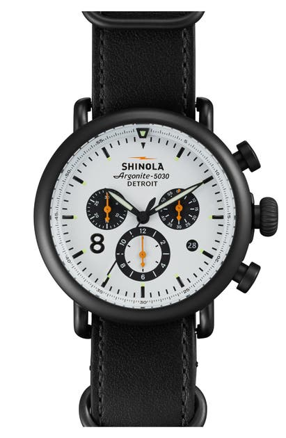 Shinola 'The Runwell Contrast Chrono' Leather Strap Watch, 41Mm In Black