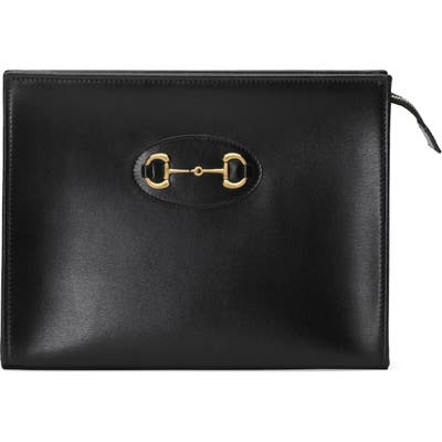 Gucci 1955 Horsebit Leather Pouch - Black