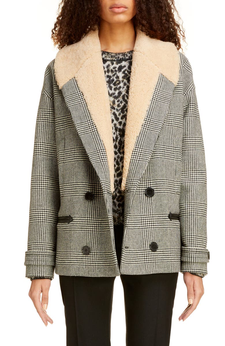 SAINT LAURENT Genuine Shearling Collar Glen Plaid Coat, Main, color, 001