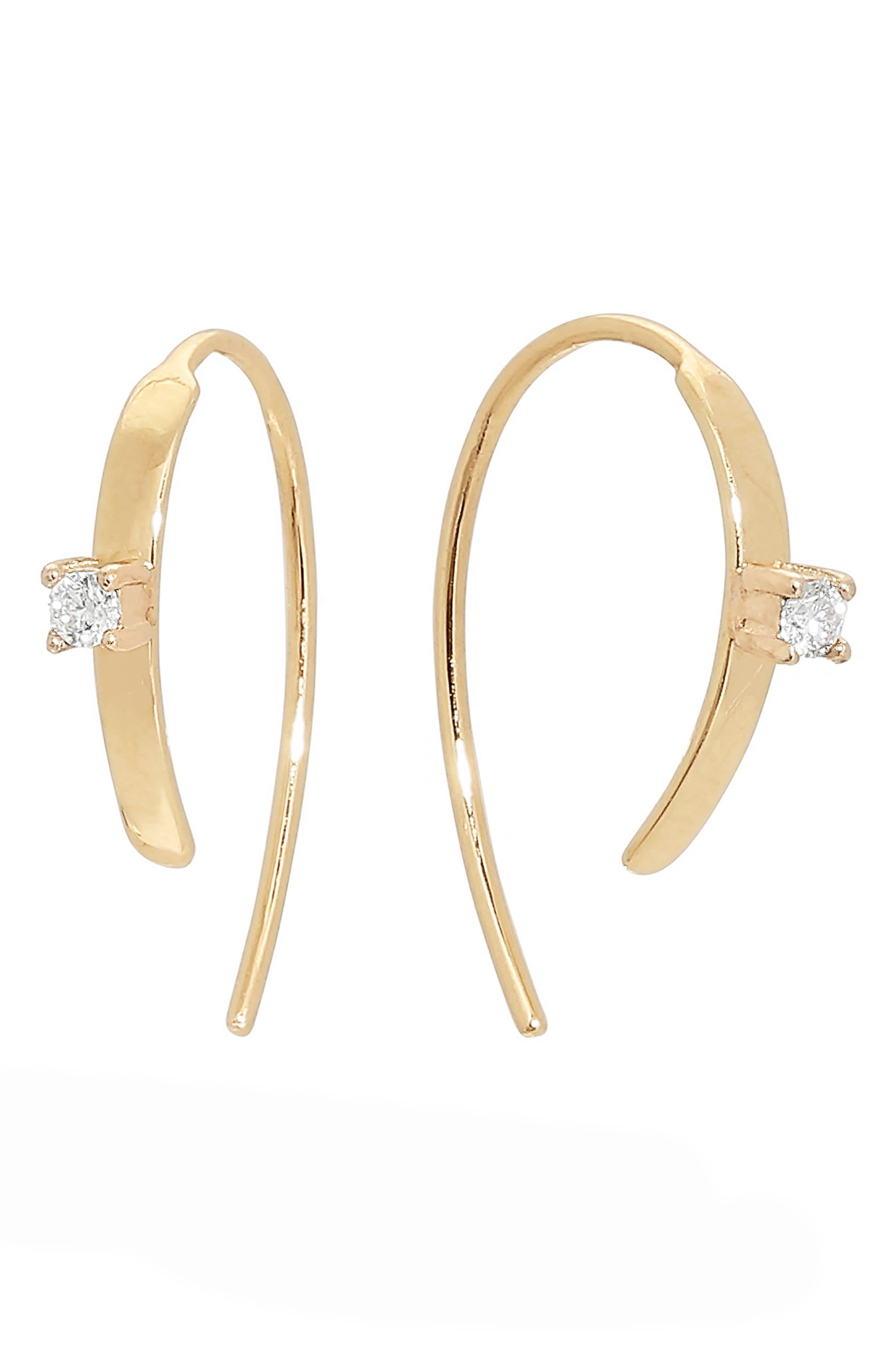 Mini Flat Diamond Hoop Earrings