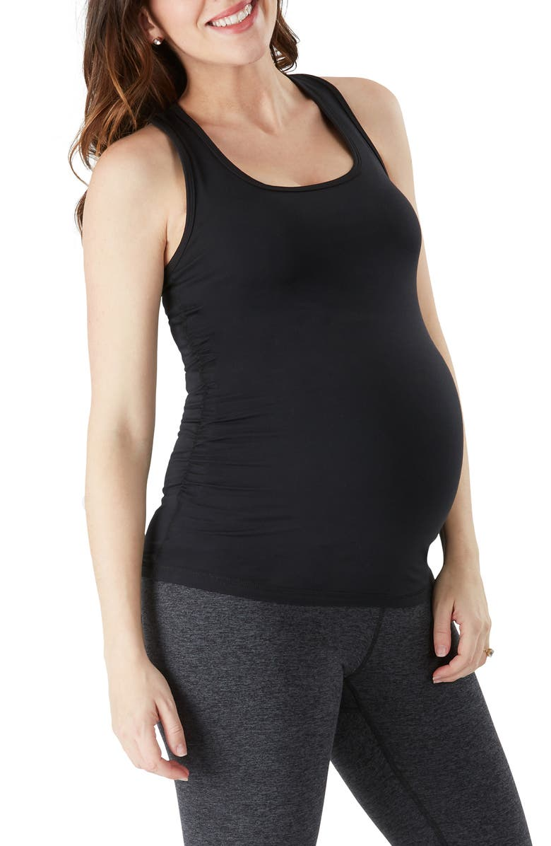 BELLY BANDIT<SUP>®</SUP> Essential Shirred Maternity Tank Top, Main, color, BLACK