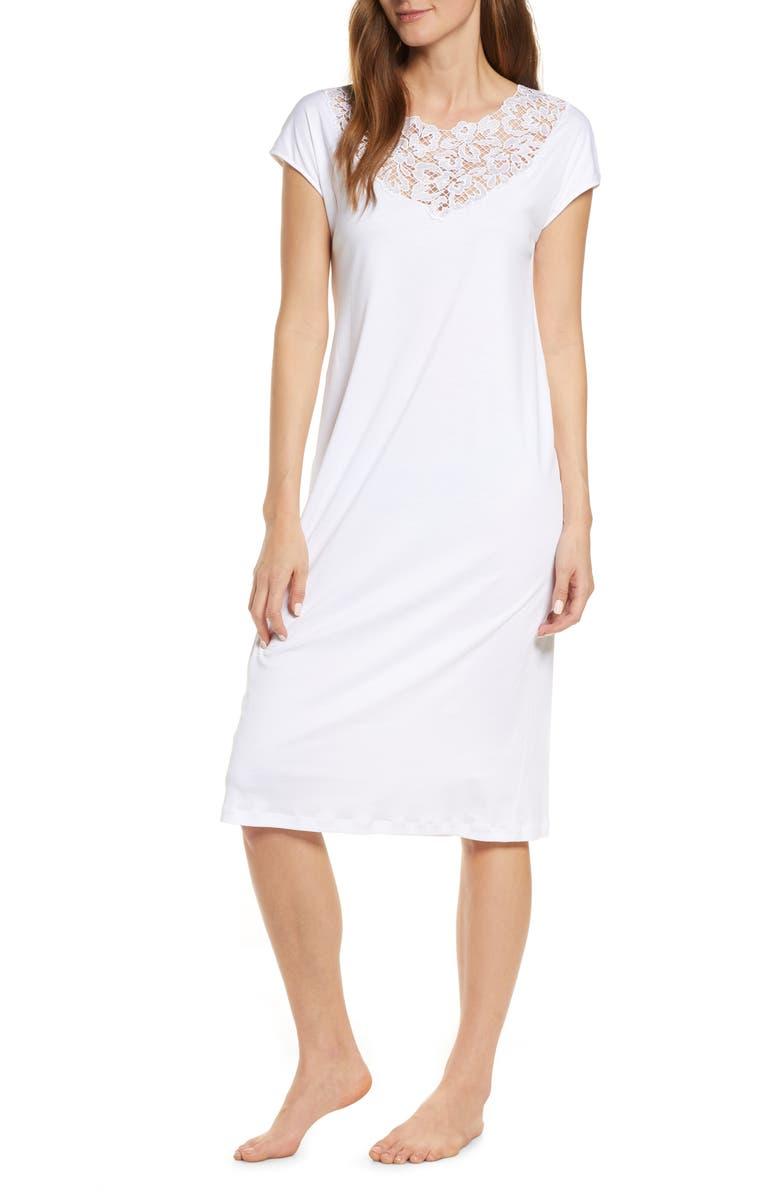 HANRO Najuma Cap Sleeve Nightgown, Main, color, WHITE