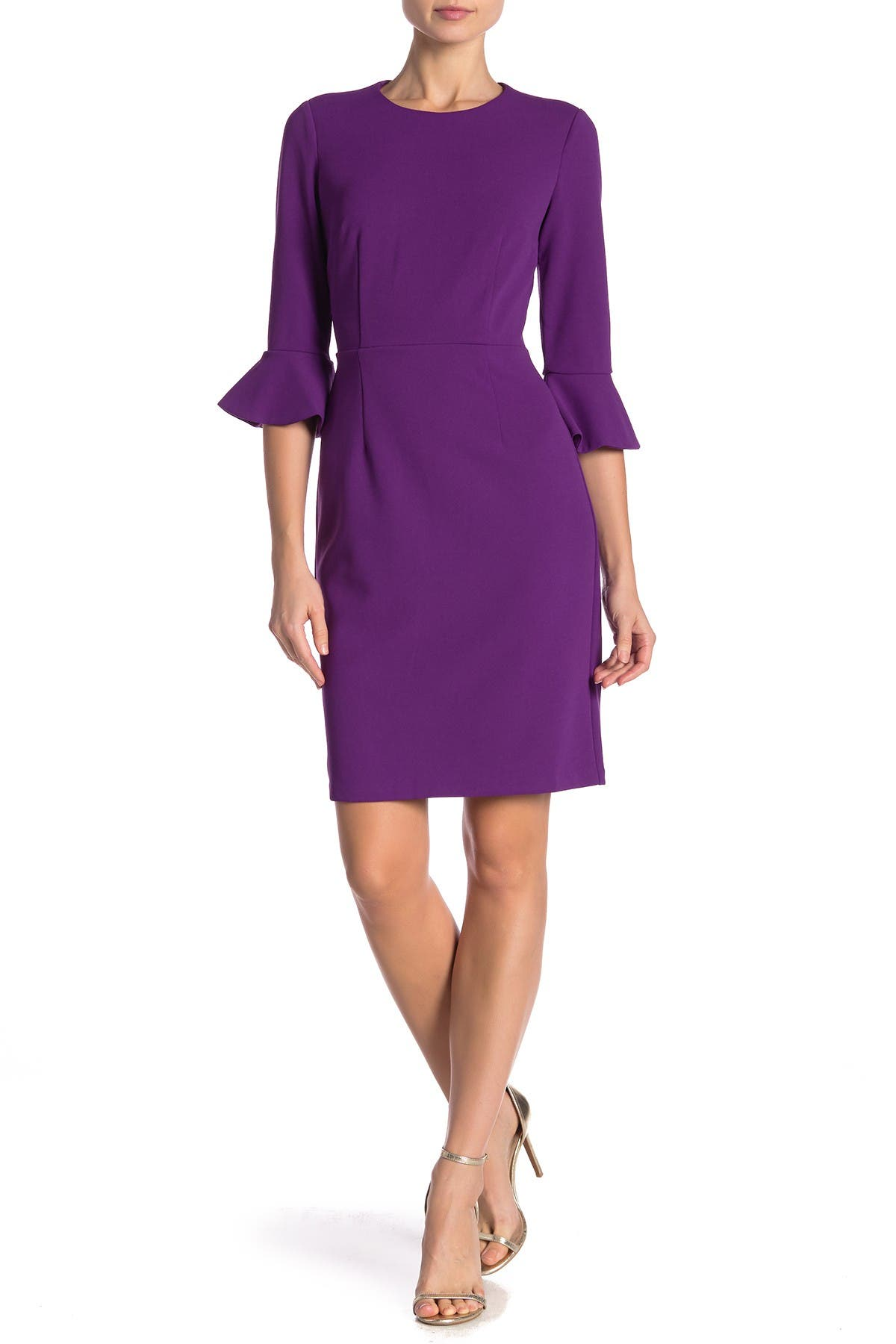 Image of Donna Morgan Ruffle Cuff Sheath Dress