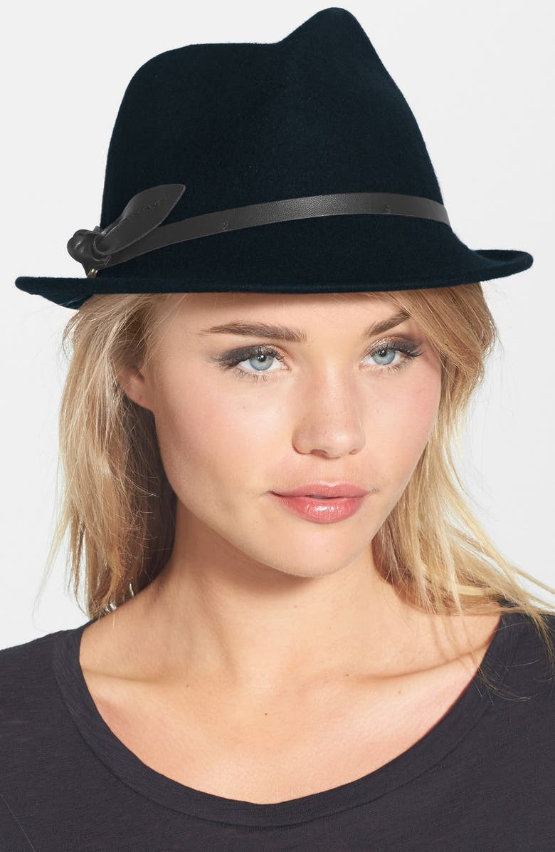 NORDSTROM Leather Bow Felt Fedora, Main, color, 001