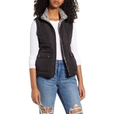 Thread & Supply Reversible Fleece Lined Quilted Vest, Black