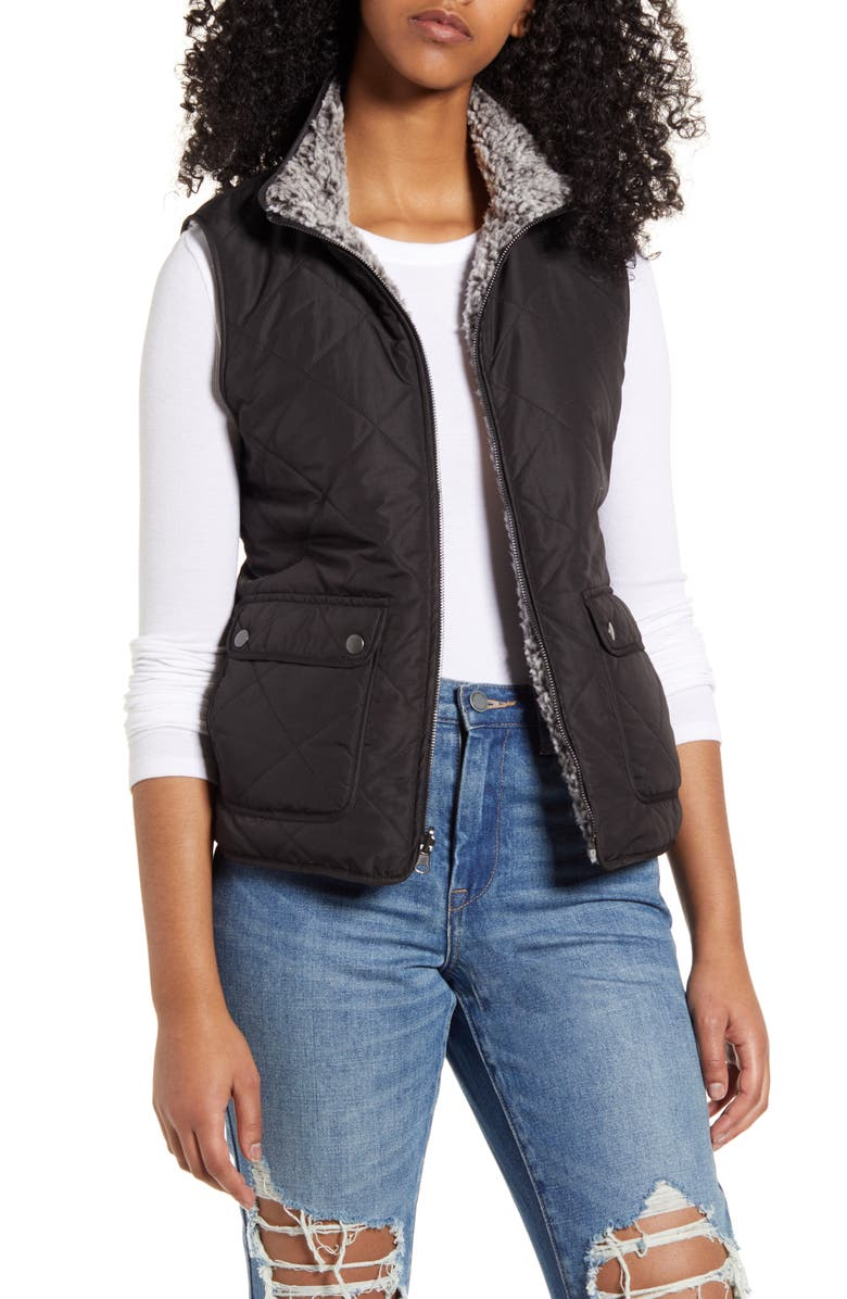 THREAD & SUPPLY Reversible Fleece Lined Quilted Vest, Main, color, 005