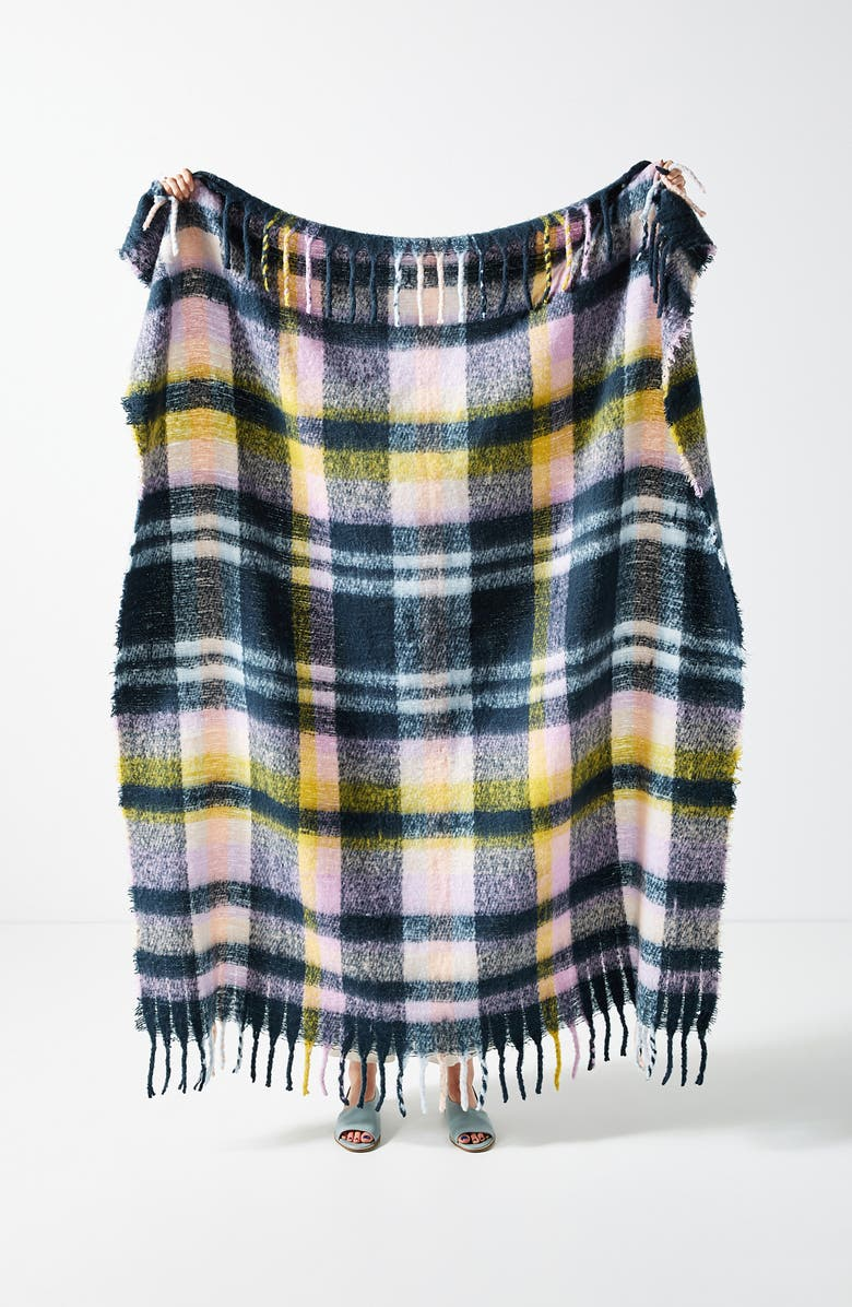 ANTHROPOLOGIE HOME Happy Plaid Throw Blanket, Main, color, NAVY