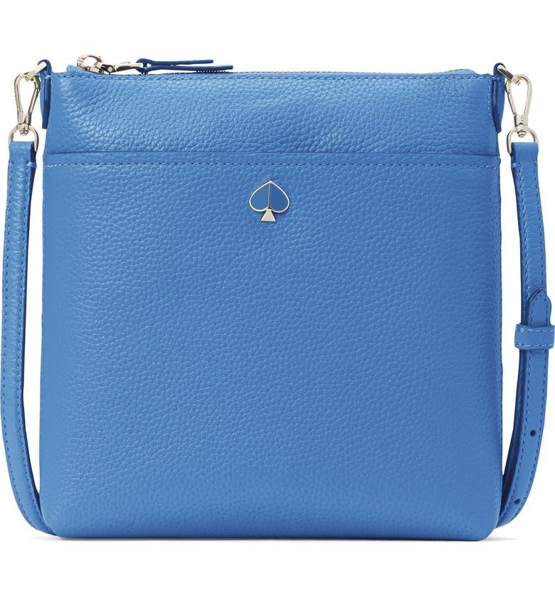 KATE SPADE NEW YORK small polly leather crossbody bag, Main, color, DEEP CORNFLOWER