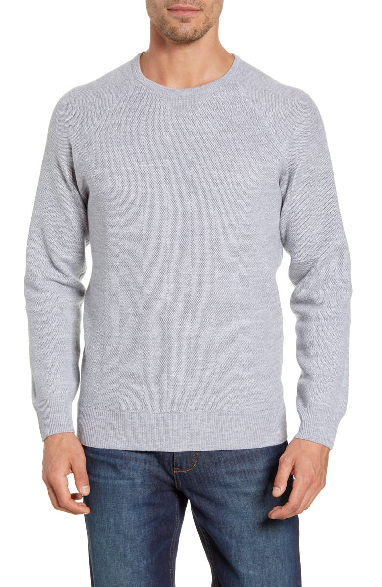 PETER MILLAR Raglan Sleeve Honeycomb Knit Pullover, Main, color, BRITISH GREY
