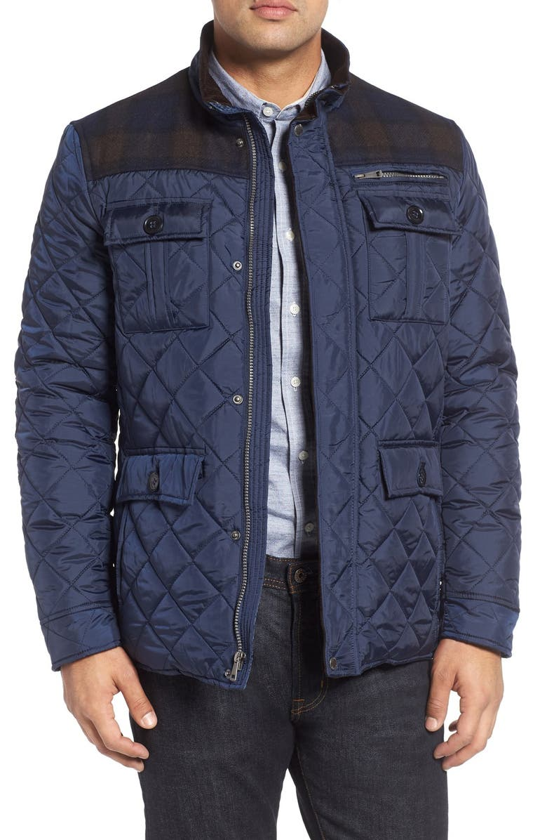 COLE HAAN Mixed Media Quilted Jacket, Main, color, NAVY