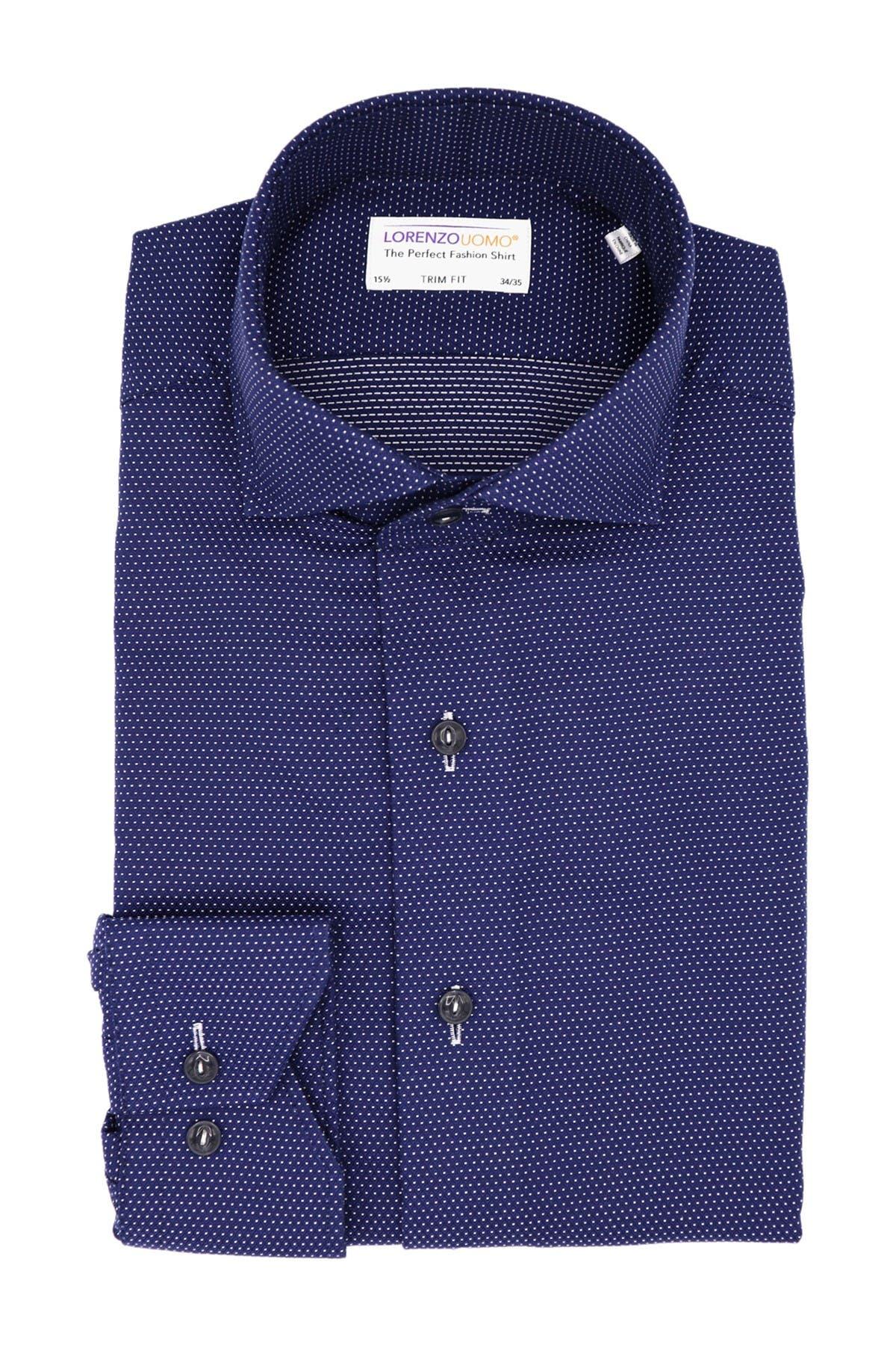 Lorenzo Uomo 100/% Cotton Navy Trim Fit Geometric Dress Shirt Size 16.5 32//33