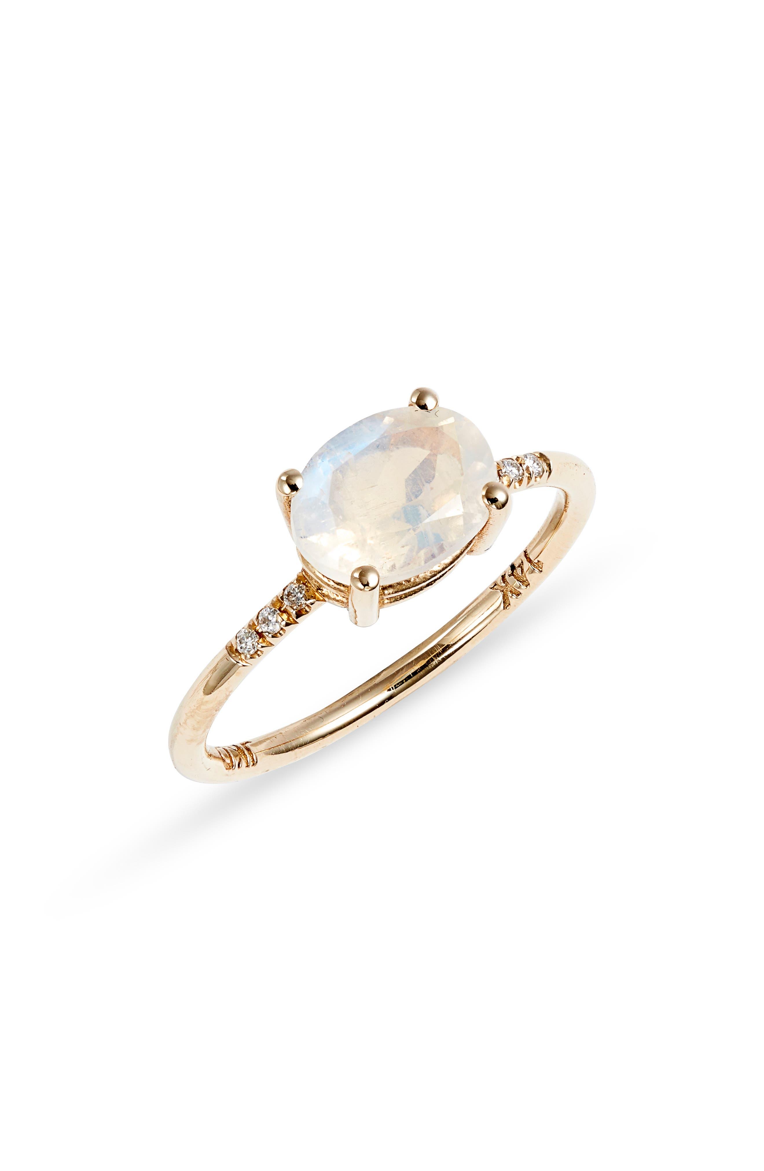Moonstone & Diamond Equilibrium Ring