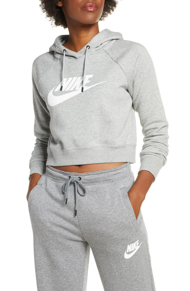 NIKE Sportswear Essential Crop Hoodie, Main, color, DK GREY HEATHER/ WHITE