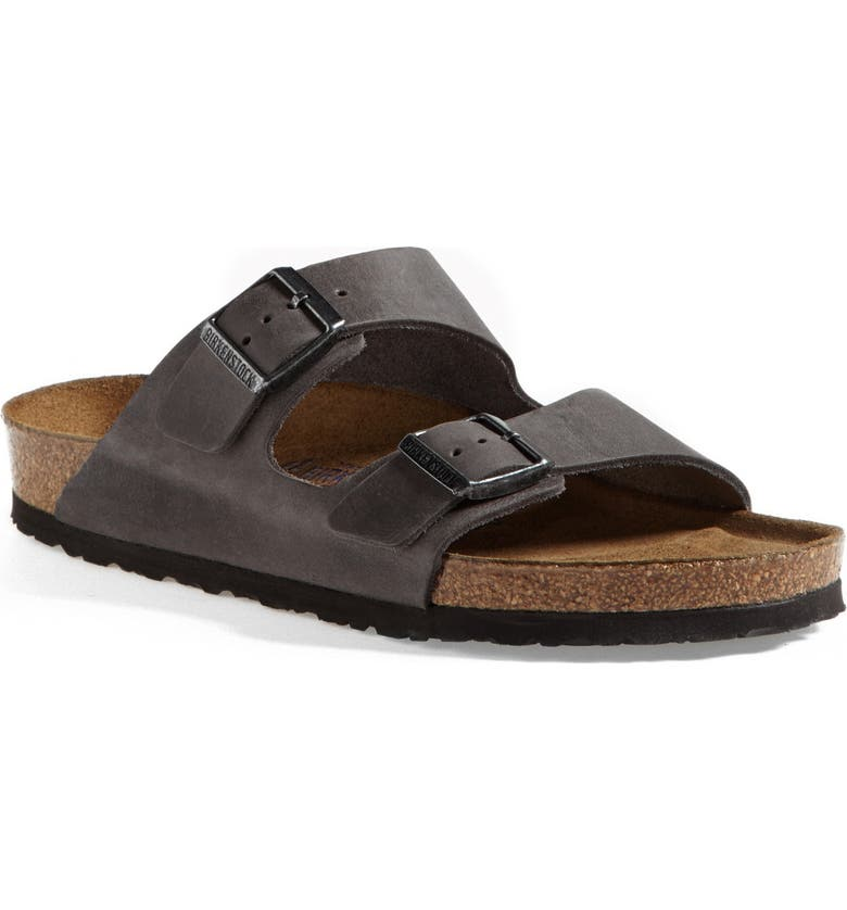 BIRKENSTOCK Arizona Soft Slide Sandal, Main, color, IRON