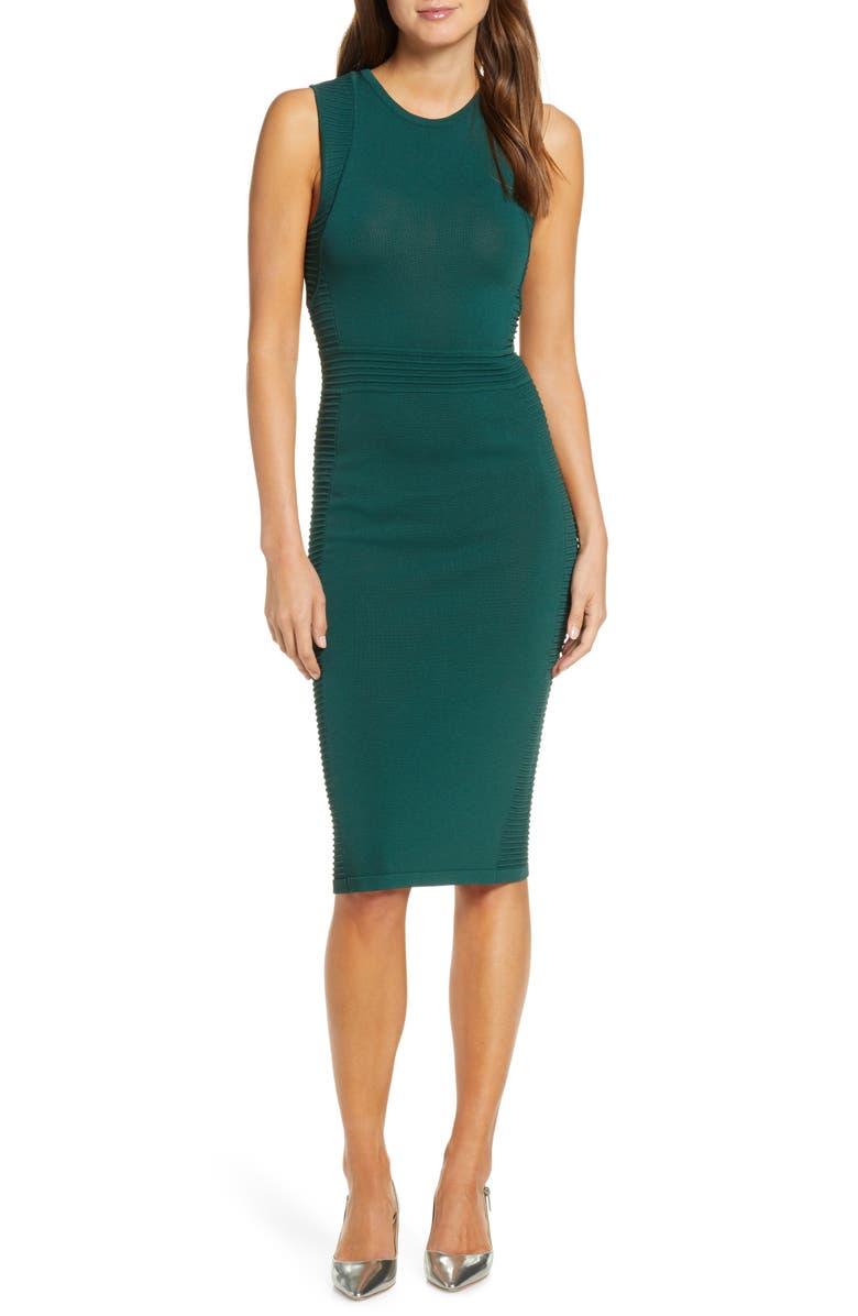 VINCE CAMUTO Ottoman Detail Sweater Dress, Main, color, GREEN