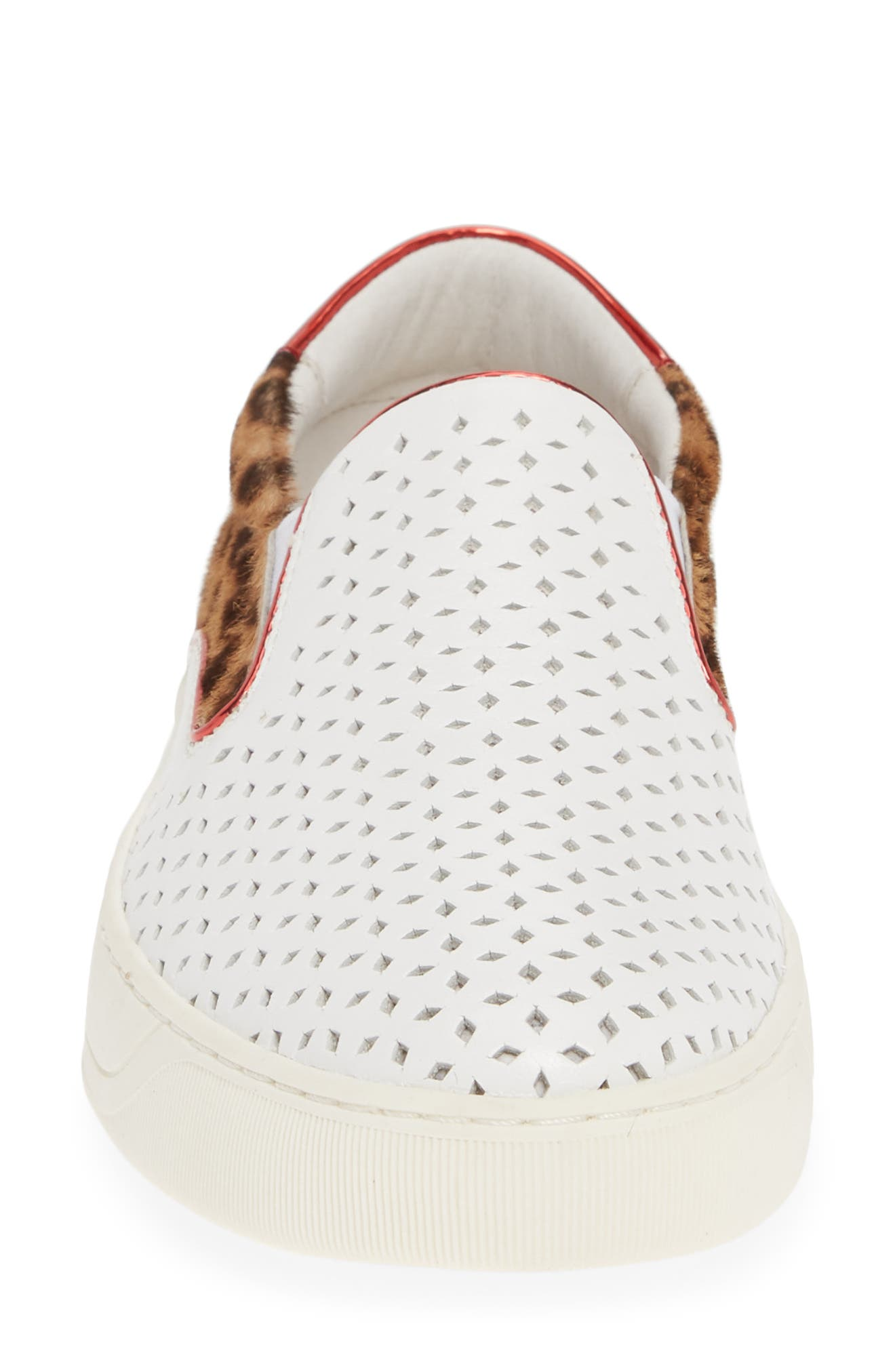 ,                             Elaine Perforated Genuine Calf Hair Slip-On Sneaker,                             Alternate thumbnail 4, color,                             WHITE LEATHER/ PRINT CALF HAIR