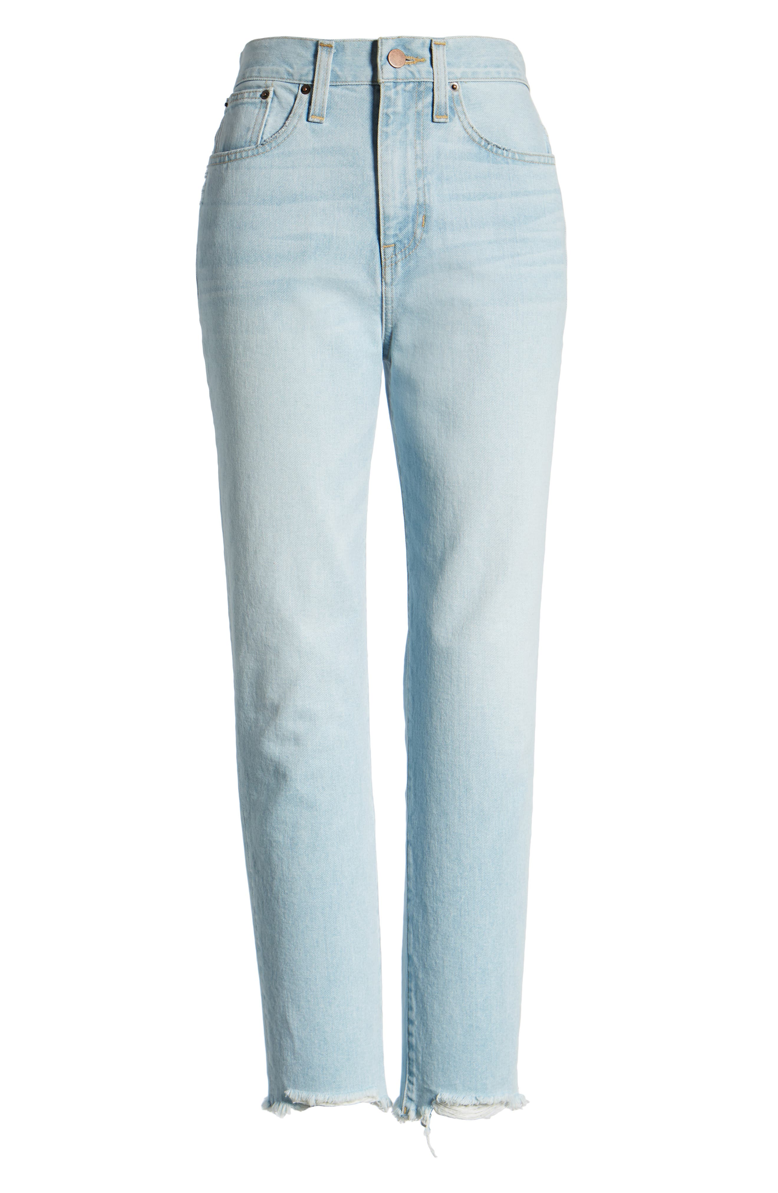 ,                             Cigarette Raw Hem Ankle Jeans,                             Alternate thumbnail 10, color,                             LIGHT INDIGO WASH
