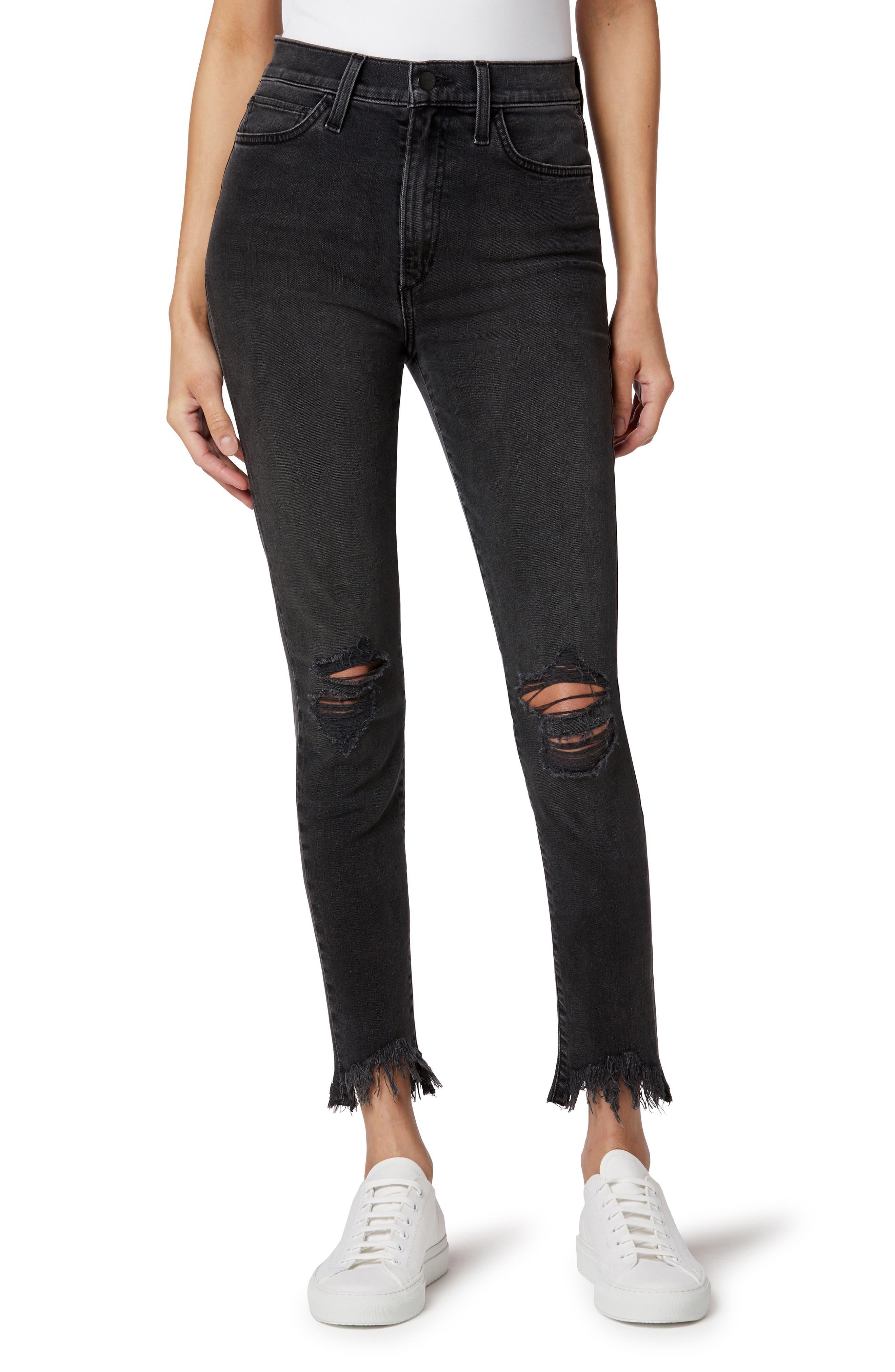 The Bella Ripped High Waist Fray Hem Skinny Jeans