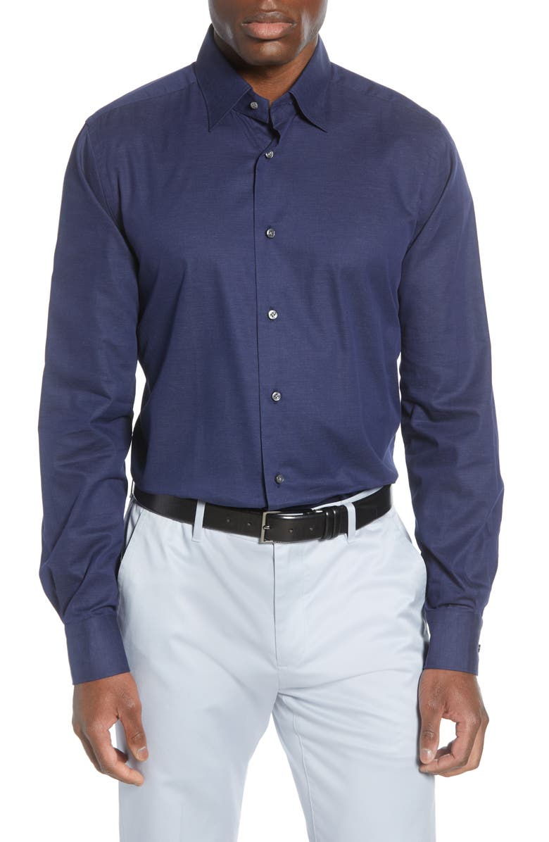 EMANUEL BERG Modern Fit Navy Button-Up Shirt, Main, color, 410