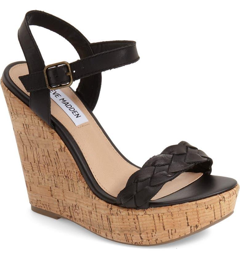 STEVE MADDEN 'Emmey' Platform Wedge Sandal, Main, color, 001