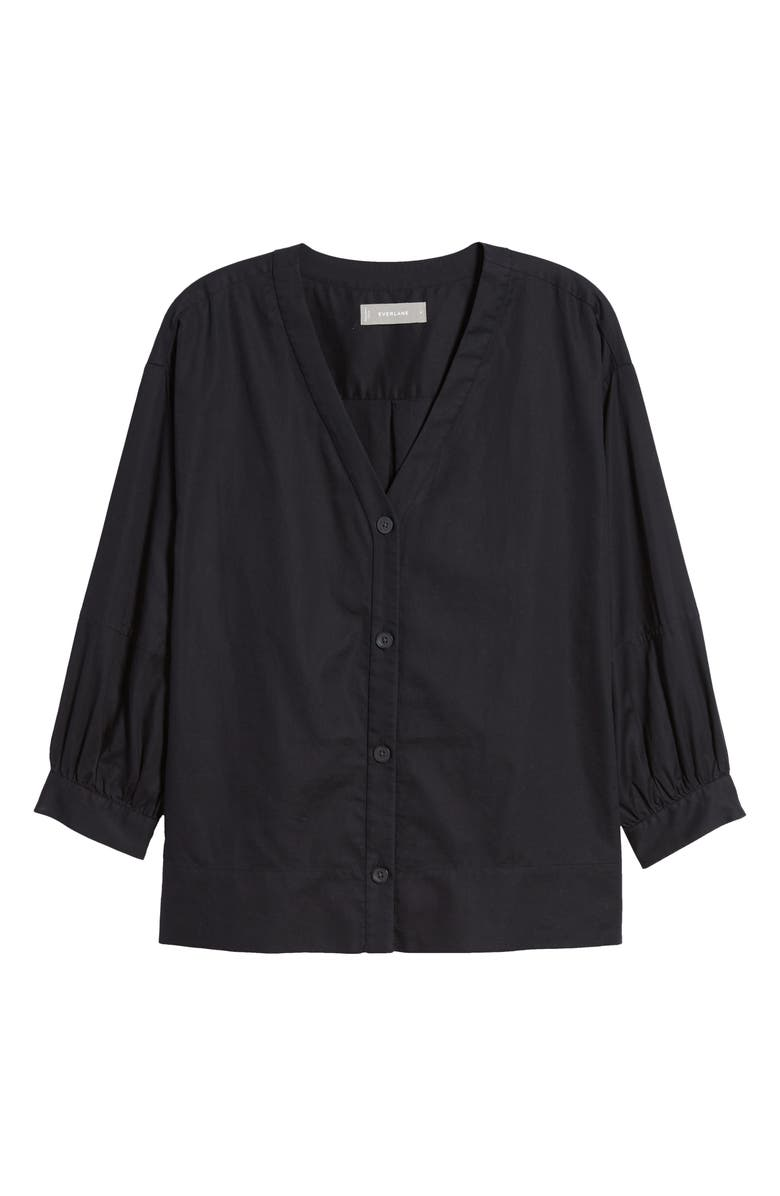 EVERLANE The Silky Cotton Lantern Top, Main, color, BLACK