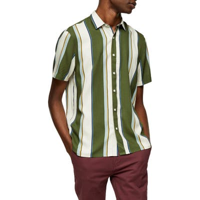 Topman Stripe Short Sleeve Button-Up Shirt, Green