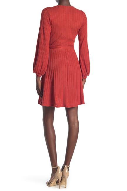 Image of KENEDIK Brushed Pointelle Surplice Neck Wrap Dress