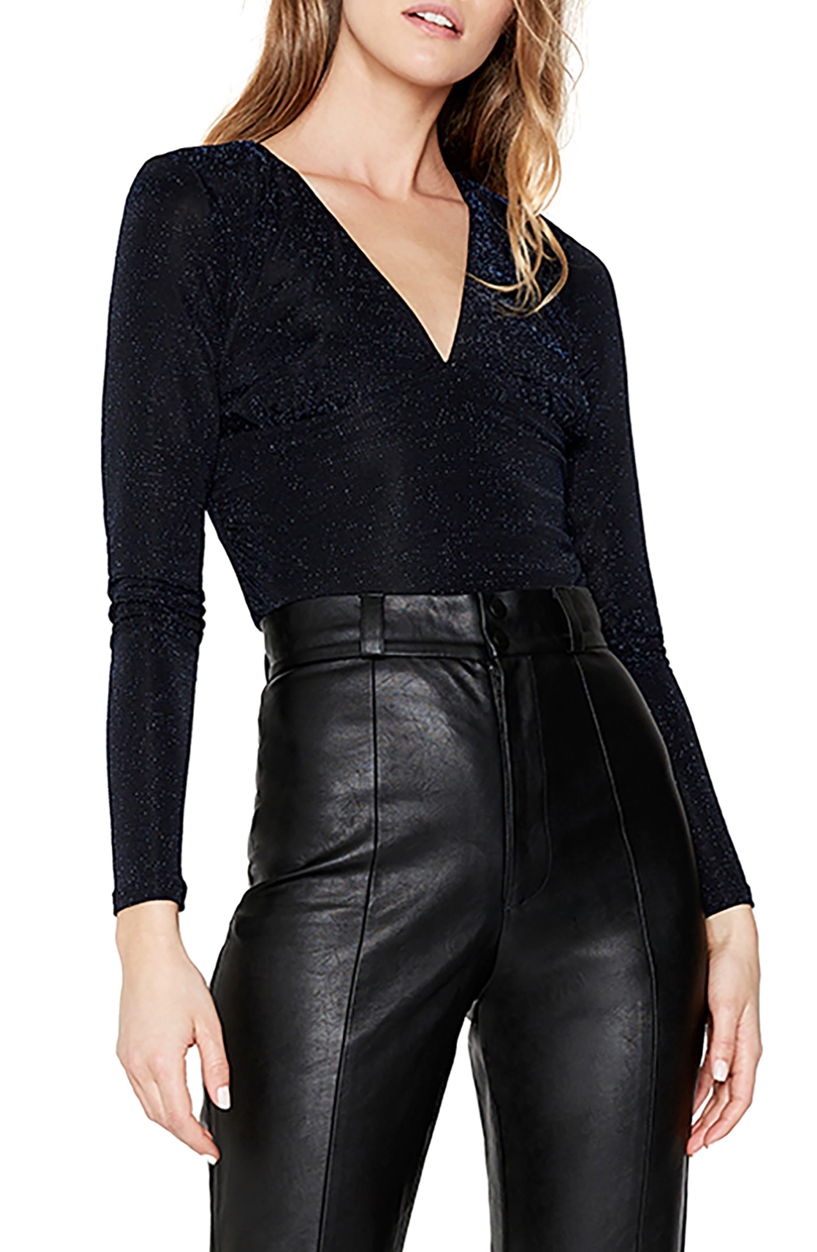 V-Neck Metallic Knit Bodysuit