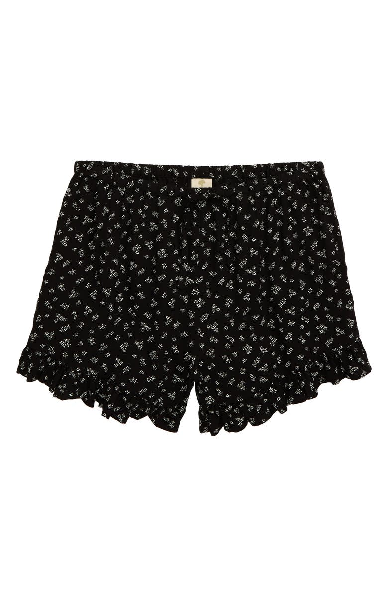 TUCKER + TATE Ruffle Shorts, Main, color, BLACK PIONEER FLORAL