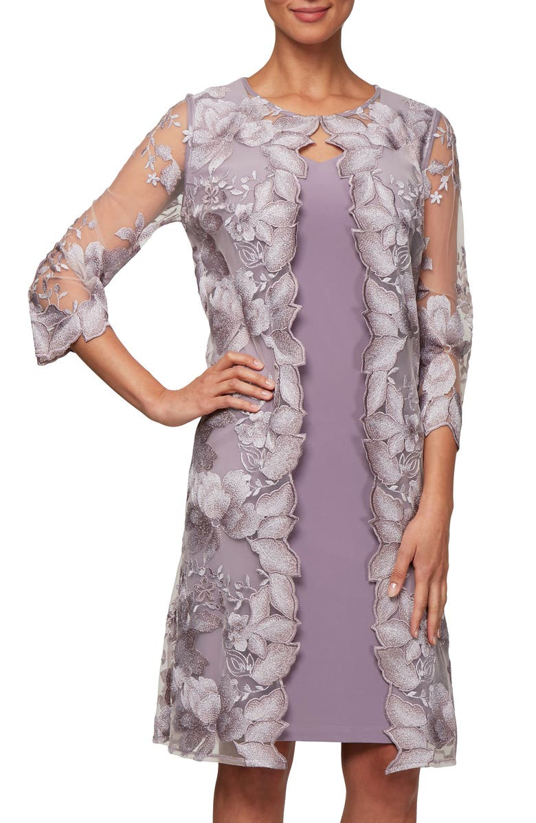 ALEX EVENINGS Embroidered Lace Mock Jacket Cocktail Dress, Main, color, SMOKEY ORCHID