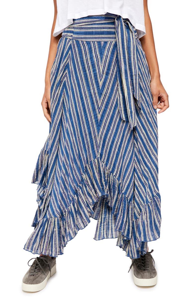 FREE PEOPLE Giselle Chevron Asymmetrical Skirt, Main, color, 410