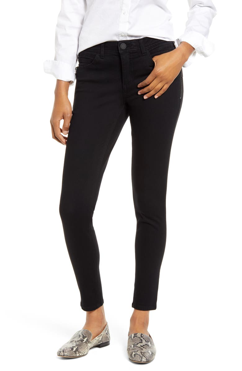 WIT & WISDOM Ab-Solution Side Zip Ankle Skinny Jeans, Main, color, 001