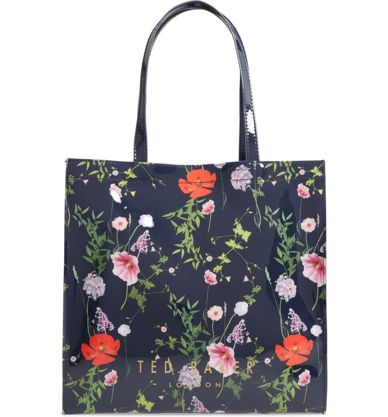 TED BAKER LONDON Primcon Hedgerow Print Large Icon Tote, Main, color, DARK BLUE