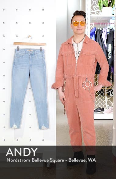 Charlie High Waist Frayed Ankle Skinny Jeans, sales video thumbnail