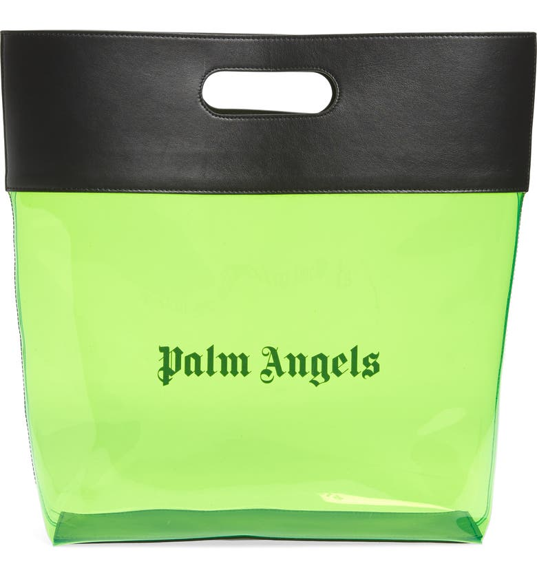 PALM ANGELS Alien Clear Shopper Tote, Main, color, GREEN BLACK