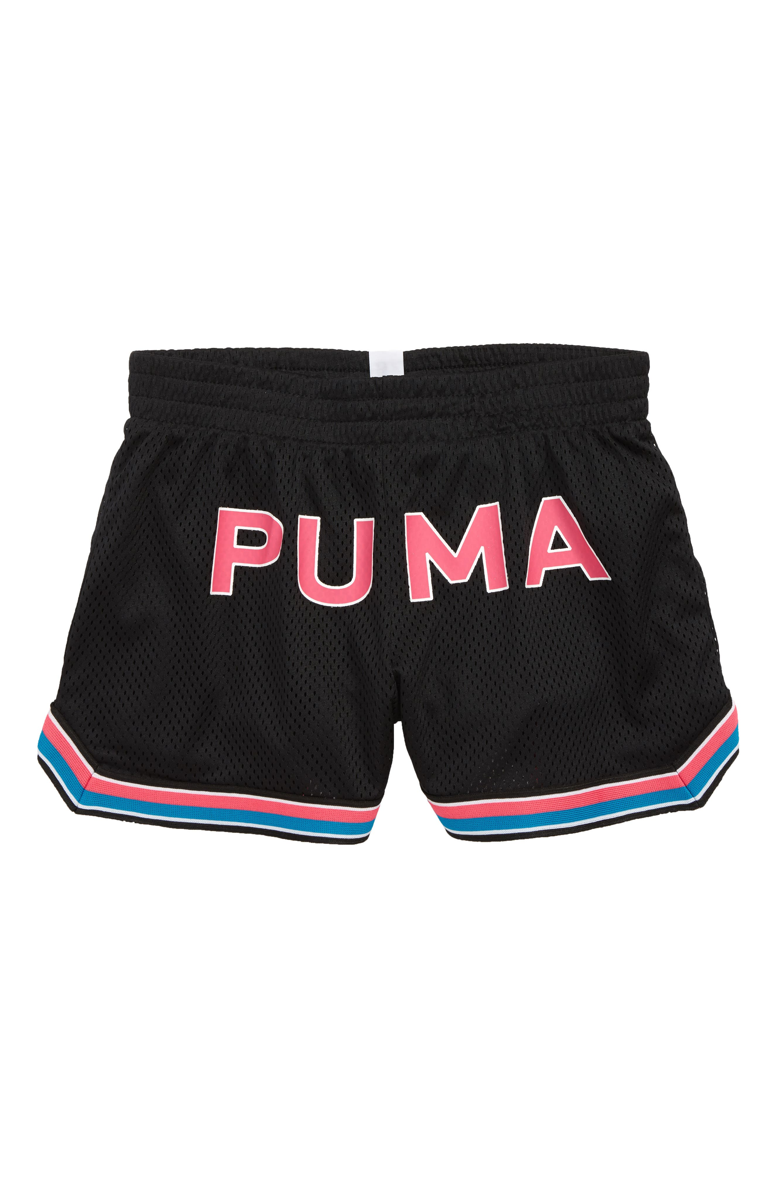 ,                             Logo Mesh Shorts,                             Main thumbnail 1, color,                             PUMA BLACK