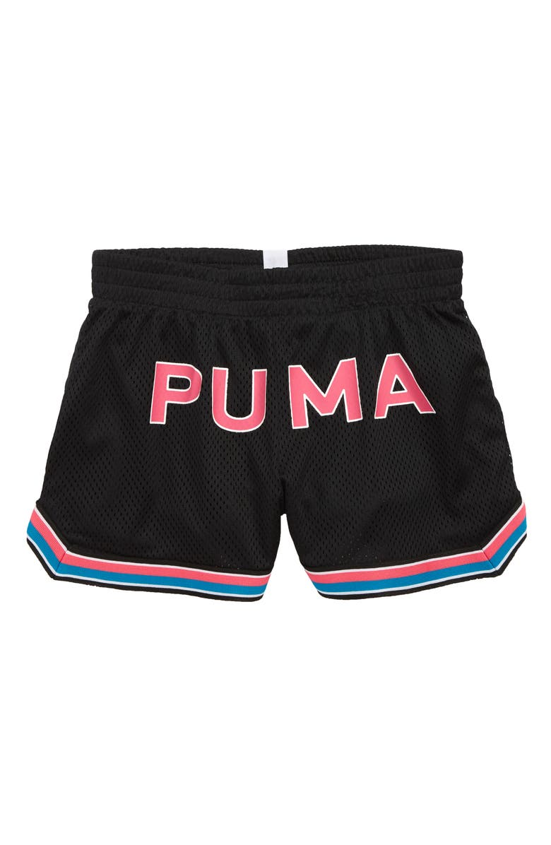 PUMA Logo Mesh Shorts, Main, color, 001