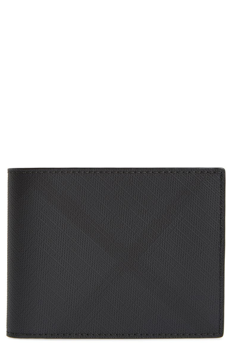 BURBERRY London Check Wallet, Main, color, DARK CHARCOAL IP CHECK